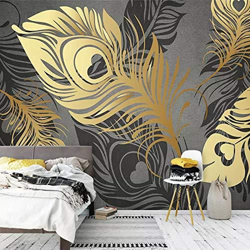 3D tapete Wandbilder Brauch s moderne Mode abstrakte goldene Feder Wohnzimmer Sofa TV Hintergrund Tapete Schlafzimmer Dekor 350x256cm