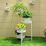 Estante de flor de hierro, 4 Tiered Plant Display Stand Soporte de Bonsái Jardín de Hogar Decoración de Patio Plegable Shelf sostiene blanco ( Color : Blanco )