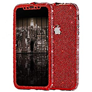 Uposao Compatible with iPhone XS Max Case Glitter Sparkly Bling Case for Girls Women Shiny Diamond Rhinestone Metal Bumper Frame Glitter Sticker Case Cute Fashion Case,Red   2
