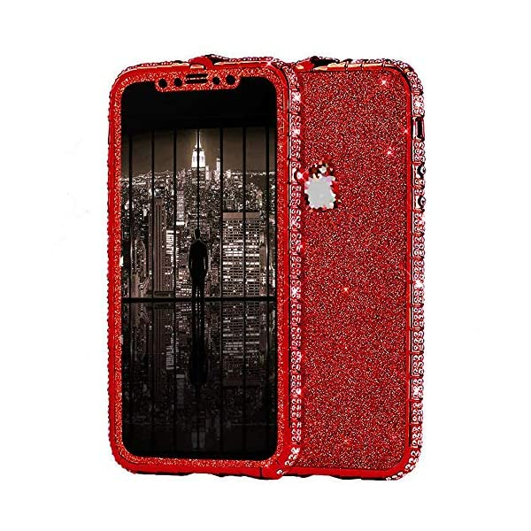 Uposao Compatible with iPhone XS Max Case Glitter Sparkly Bling Case for Girls Women Shiny Diamond Rhinestone Metal Bumper Frame Glitter Sticker Case Cute Fashion Case,Red Uposao Compatible Model: iPhone XS Max Made of independent bling back sticker and hard aluminum alloy bumper frame, sleek and elegant. Pretty bling artificial diamond on the frame and shiny back sticker make your phone different and eye-catching. 1