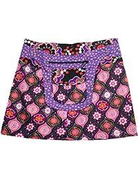 540dc3caff6bb2 Sunsa Damen Rock Minirock Sommerrock Wickelrock Wenderock aus Baumwolle,  Zwei optisch verschiedene Röcke mit einem