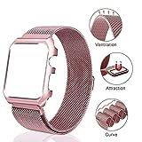 HQQNUO Apple Watch Armband 38mm Uhrenarmband iwatch Strap Magnetic Loop Armbanduhr Gürtel mit Uhr Schutzhülle und Magnetverschluss Schließe für Serie 3 Serie 2 Serie 1 - Rose
