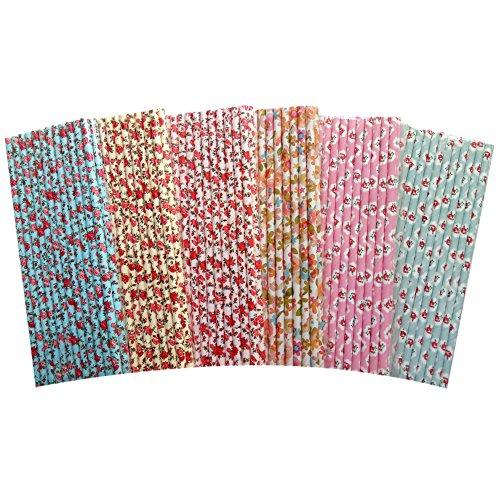 Fzopo Papier-Strohhalme für Teeparty, Brautparty und Hochzeit, biologisch abbaubar, Premium-Qualität, 20 cm, 150 Stück (Bulk Papier Strohhalme)