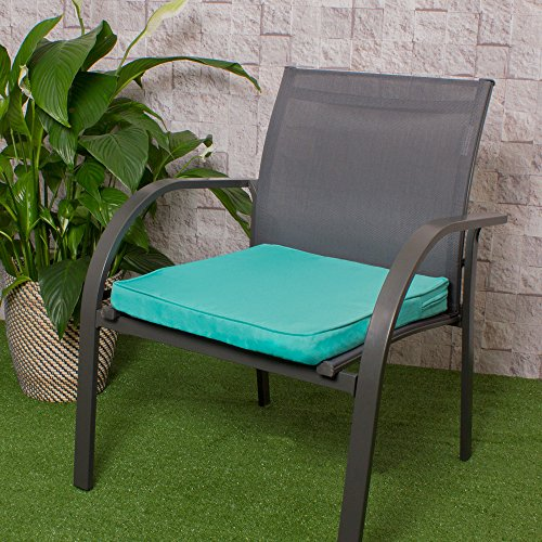 Bean Bag Bazaar Outdoor Seat Pad Cushion - 43cm x 50cm - Foam Filled, Water Resistant - Decorative Cushions for Garden Chair, Bench, or Sofa with Ties (2, Mint Green)