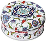 Truede Round Tin with Rose and Lemon Turkish Delight, 120g
