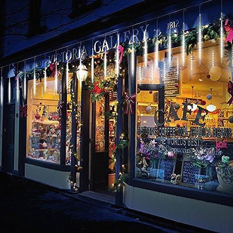 BlueFire Aktualisiert Meteorschauer Regen Lichter, 50cm 10 Tubes 540 LEDs Wasserdichte Schneefall Lichterkette für Draussen/Innenraum/Garten/Hochzeit/Party/Weihnachten Dekoration (Weiß)