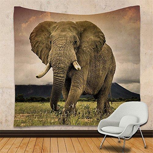 KaO0YaN Hippie Mandala Tapices, Bohemio Tradicional Colgante Decoración, Indio Boho Gypsy Algodón Mantel Toalla de Playa, Tapiz de Pared Colgante, Elefante, 150x130cm