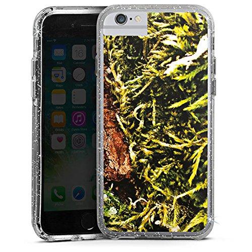 Apple iPhone 6 Bumper Hülle Bumper Case Glitzer Hülle Rinde Holz Wood Bumper Case Glitzer silber