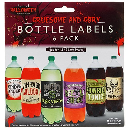 Flasche Etiketten Spooky Drink Scary Party Geschirr Fun Dekoration Scene Setter (Halloween Spooky Drinks)