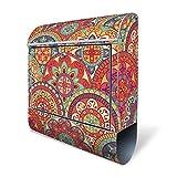 Design Briefkasten mit Zeitungsfach, Designer Motivbriefkasten mit Zeitungsrolle kaufen, für A4 Post, groß, bunt, Briefkastenschloss 2 Schlüssel, von banjado Motiv Rosetten