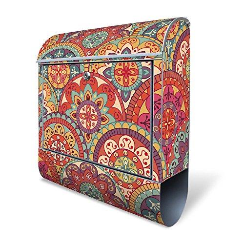 BANJADO Design Briefkasten mit Zeitungsfach, 2 Schlüssel, A4 Einwurf, silber pulverbeschichtet, mit Motiv Rosetten
