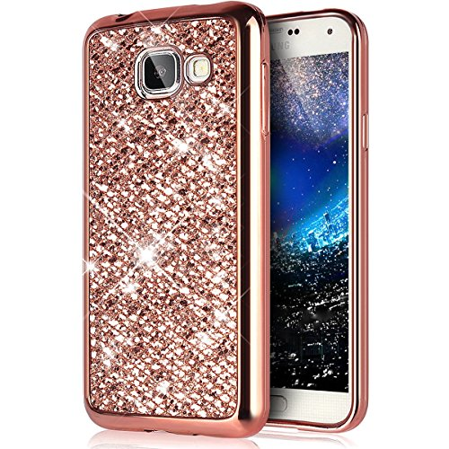 Galaxy A3 2016 Housse de Coque de protection en silicone pour Samsung Galaxy A3 2016, jawseu beau blanc motif floral anti Scratch souple flexible Bumper TPU Gel Étui ultra fin cuir Case Cover Etui pour Samsung Galaxy A3 2016 + 1 x noir paillettes Bling Stylet de fleurs Blanc