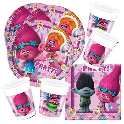 """DreamWorks BPWFA-96, Partygeschirr-Set """"Trolls"""" für 16Personen"""