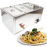 Chauffe-Plats Électrique Chafing Dish en Acier Inoxydable 7 litres 3 Bols Buffets Chauffant Réchauffage d'Aliment Food…