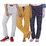 TRAZO Bio-Washed Women's Printed Cotton (Combo-3) Pyjama
