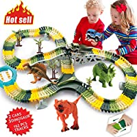 ACTRINIC Dinosaur Toys 192 Pcs Flexible Car Race Tracks with 3 Dinosaurs,2 Military Vehicles,4 Trees,1 Turntable,2 Slopes,3 Obstacles Toddler Toys for 2 3 4 5 Years Old Boys and Girls