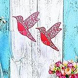 JZK® 50 x Nombre de table, Nom de la carte, place de cartes, pour partie, de mariage, de bal (rouge oiseau)