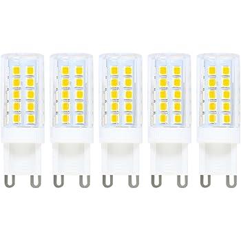 Bombilla G9 LED, 5 unidades, G9 Bombilla Pera, 5 W G9 LED Equivalente a 40 W Halopin, Blanco cálido 3000 K, 400 lm, 220 V AC, ángulo de emisión de 360º