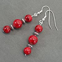 Thurcolas pendant earrings in red turquoise beads and Tibetan beads