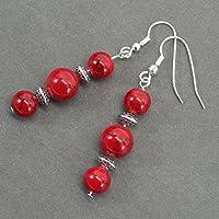 Thurcolas Anhänger Ohrringe in rot Türkis Perlen und tibetischen Perlen