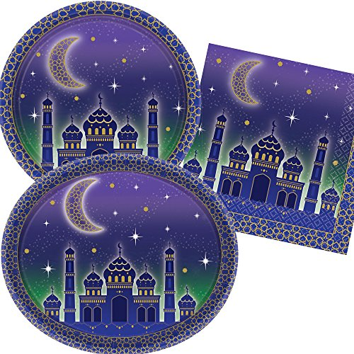 Neu: 40-tlg. Party-Set für Eid al-Adha & Eid al-Fitr | Teller + Servietten + Deko | Fest Mubarak Fasten Ramadan Zuckerfest Haddsch Islam Moschee Masjid