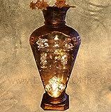 Dekokönig Barvitrine Bar Vitrine Amphore Vase mit Licht Bodenvase Glasregal Bronze /// 6851 K110