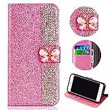 Shinyzone Glitzer Leder Brieftasche Hülle für iPhone XS Max, Luxus Diamant Funkeln Handyhülle 3D Schmetterling Magnetverschluss mit Kartenfächer Ständer Schutzhülle,Rosa