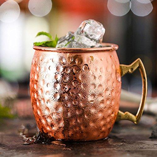 ZNYSTAR Neues Design Moscow Mule Kupfer Becher Trinkbecher Kupfer Tasse Mule Becher (530ml Roségold) (Rose Tasse White)