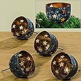 B&B 4 STÜCK Windlicht mit Stecker Gold Farben SCHWARZ Metall Sterne Windlichtstecker Kerzenstecker Adventskranz Stecker Teelichthalter Kerzenhalter Teelichthalter für Kränze zum Stecken