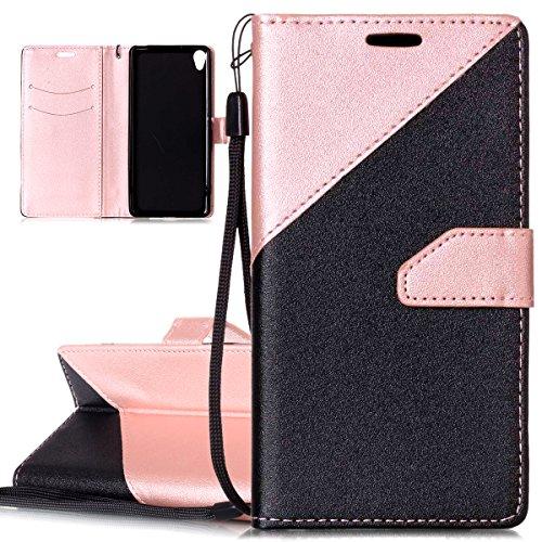 ISAKEN Sony Xperia XA Hülle, PU Leder Flip Cover Brieftasche Geldbörse Wallet Case Ledertasche Handyhülle Tasche Schutzhülle mit Handschlaufe Strap für Sony Xperia XA - Mattieren Schwarz Rosa