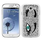 Funda carcasa TPU (Gel) para Samsung Galaxy Grand NEO Plus diseño guiño ojos verde fondo efecto purpurina borde blanco