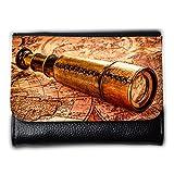 le portefeuille de grands luxe femmes avec beaucoup de compartiments // V00002403 Vintage catalejo en el mapa del mundo // Medium Size Wallet