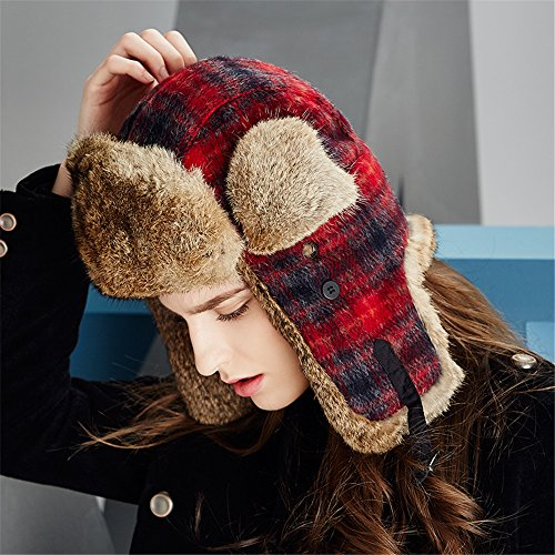 Kenmont Luxury Rabbit Fur Russian Style Earflap Ski Cap Womens Trapper