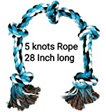 MS Petcare Cotton Rope Dog Chew Toy for Medium to Adult Dogs with 5 Chew Knots 28 Inch Long - Extra Durable (Blue Color…