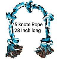 MS Petcare Cotton Rope Dog Chew Toy for Medium to Adult Dogs with 5 Chew Knots 28 Inch Long - Extra Durable (Color May Vary)