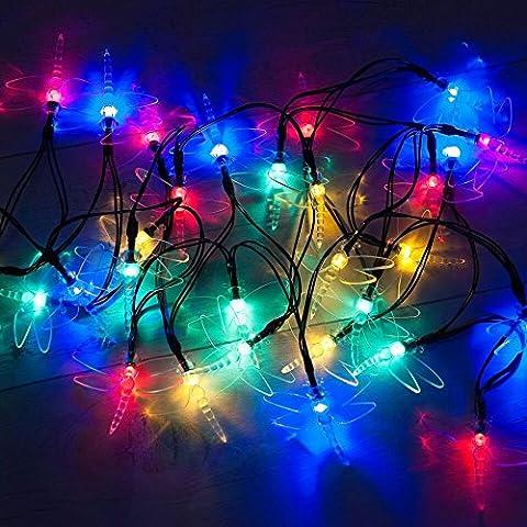 30 LED de la libélula accionado solar Luz de Navidad por SPV múltiples luces de colores: Las luces solares y especialista en iluminación (libre de Garantía de 2 años