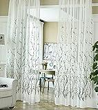 Seite Bside Freizeit Stil Ast Muster Bestickt Sheer Vorhänge mit Schlaufenband Schöne Fenster Behandlungen für Wohnzimmer Schlafzimmer und Kinder Raum, weiß, 52W x 63L Inch, 1 Panel