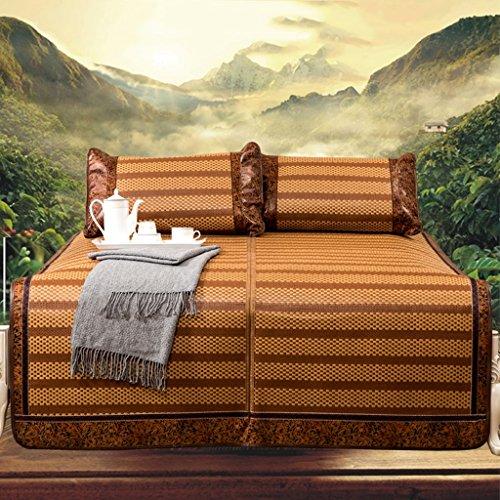 Liuyu · Sièges de rotin Mètres d'été Tapis pliant épais d'été Tapis d'été simple double lit de 1,5 m respirant et frais doux, confortable et lisse (avec deux taies d'oreiller en rotin, 150 * 195cm)