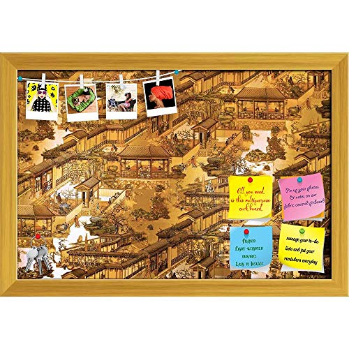Artzfolio City Of China Printed Bulletin Board Notice Pin Board | Golden Frame 23.5 X 16Inch