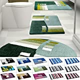 Design Badematte | rutschfester Badvorleger | viele Größen | zum Set kombinierbar | Öko-Tex 100 zertifiziert | viele Muster zur Auswahl | Welle - Grün (60 x 100 cm)