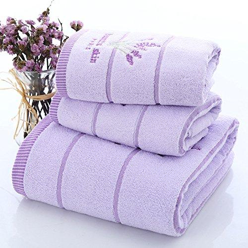 ZHFC lavendel jacke baumwolle handtücher handtuch drei stück jacquard - handtücher reis weiß licht violett 34 74cm70 *, 140 cm 1,lila farbe (Handtuch Lavendel)