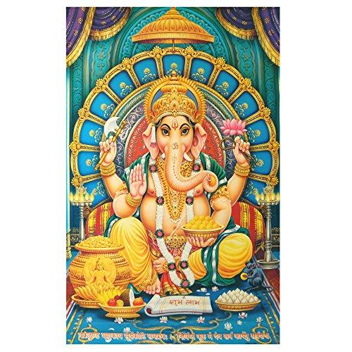 XL Poster Ganesha 145 x 95 cm blau türkis Gottheit Hinduismus Kunstdruck Religion Spiritualität Dekoration Indien - Ganesha-bild