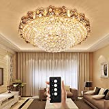 Wenrun Lighting Villa Wohnzimmer LED 3 Helligkeit K9 Kristall und Gold Spiegel Edelstahl Kronleuchter Deckenlampen Hängelampe Lüster Leuchte Lampen Licht Mit LED Glühbirne und Fernbedienung (D80cm x H36cm)