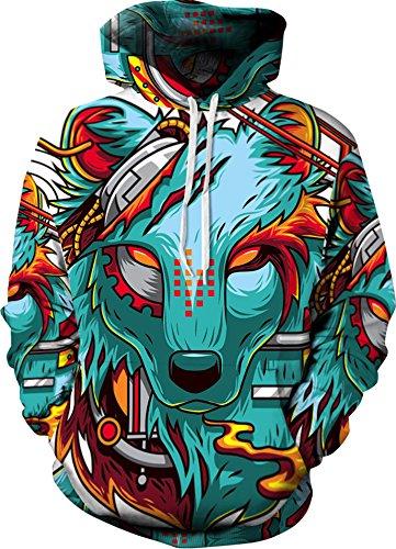 YuanYan Herren Lose Fit Hoodie - Langarm 3D Druck Muster Kapuzenpullover Sweatshirt Pullover Oversize für Herbst und Winter Wolf