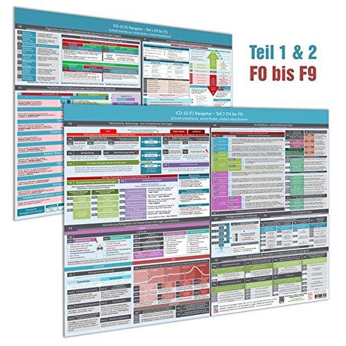 [2er Set] ICD-10 (F) Navigator Wandposter (2018) - Ideal zur Prüfungsvorbereitung für Heilpraktiker Psychotherapie (PSY) - Teil 1 & 2 (F0 bis F9):- ... einfach klassifizieren (DINA2,Hochglanz)