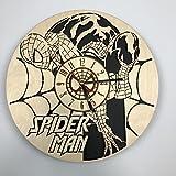Spider Man Horloge murale en bois Eco Friendly–Idée cadeau unique et décoration–Idéal pour le salon cuisine chambre à coucher–Silent Mouvement à quartz et Autonome Source d'alimentation