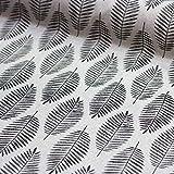 Brittschens Stoffe und Zutaten Stoff Dekostoff Weihnachten Blätter Zweige/Winter Plant/Lurex Silber Glitzer Leinenoptik Stoff zum Nähen Meterware/Verschiedene Muster (Blätter)