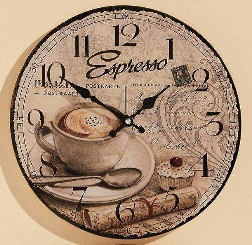 Wanduhr Ø: 34cm aus Glas Küchenuhr Kaffee Küche Espresso