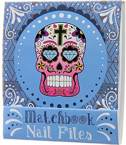Mini kit de limes en forme de zündholzbriefchen : Day Of The Death/tête de mort/Candys Kull : Bleu ~ Idéal pour les Sac à main ou un petit Attention pour offrir