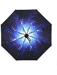 NectaRoy Plegable Paraguas Protección UV Diseño De Moda Nuevo Flor Parasol Elegante Regalo, Negro Capa Impresión Sol compacto plegable Mini Paraguas Paraguas de Viaje